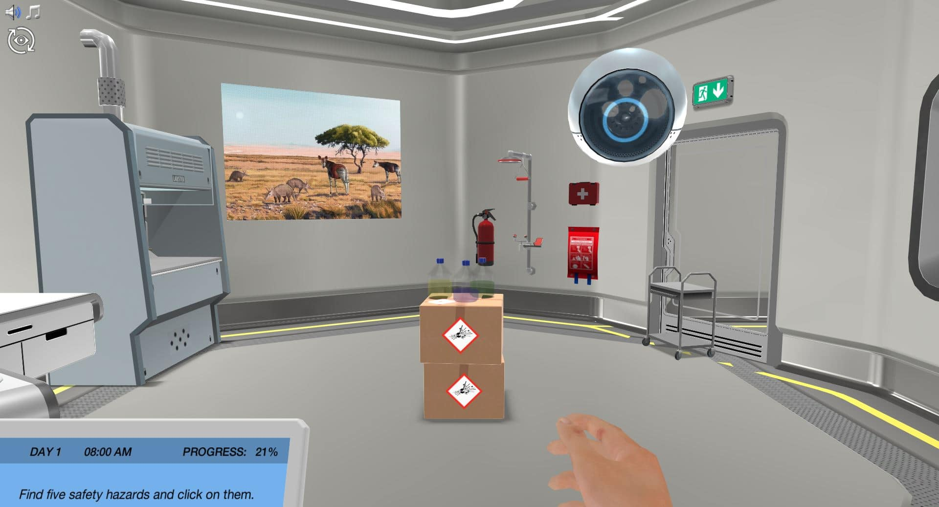 Virtual lab with safety hazards