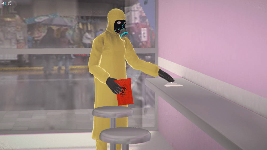 Screenshot of the Biosafety virtual lab