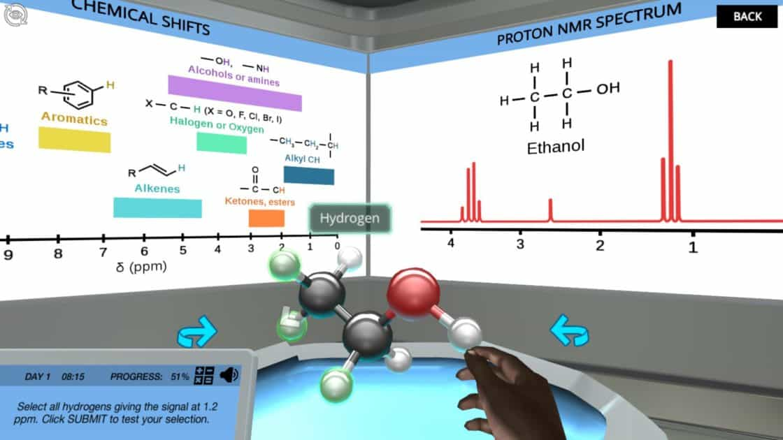 Screenshot from Labster Proton NMR Simulation