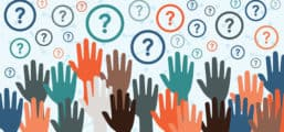 Illustration of raised hands and question marks