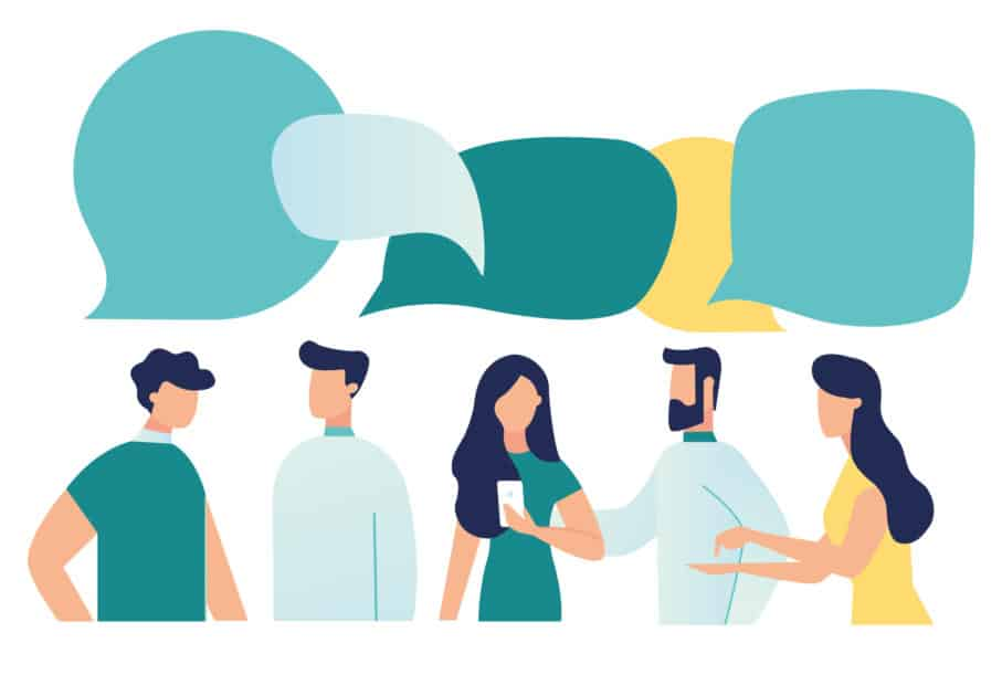 Labster - Five people talking, conversation bubbles